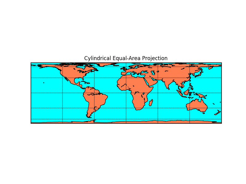 Cylindrial Equal-Area Projection — Basemap Matplotlib
