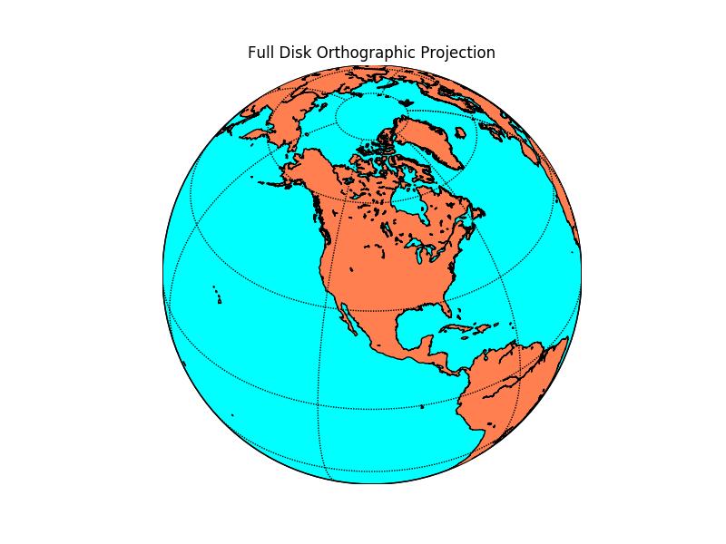 Orthographic Projection — Basemap Matplotlib Toolkit 1 2 1
